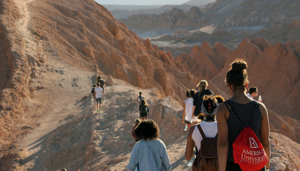 Students hiking on study abroad trip