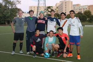 Abroad at AU students' club soccer team.