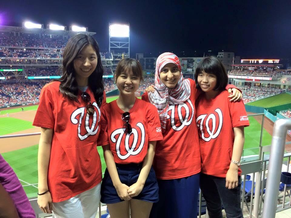 Students at a Nationals Baseball game