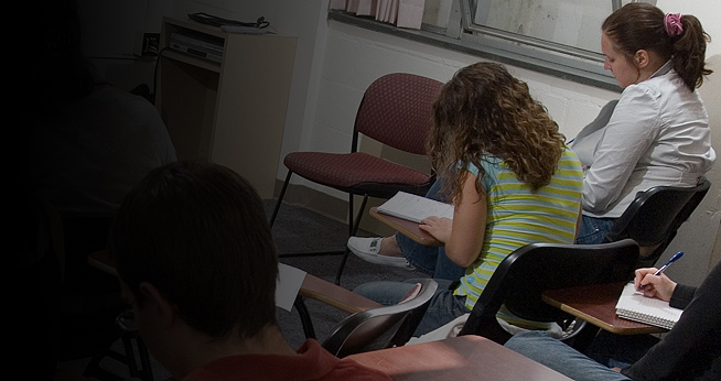 AU students work in a classroom