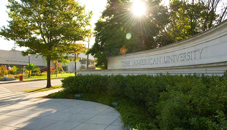 American University gate taken during summer