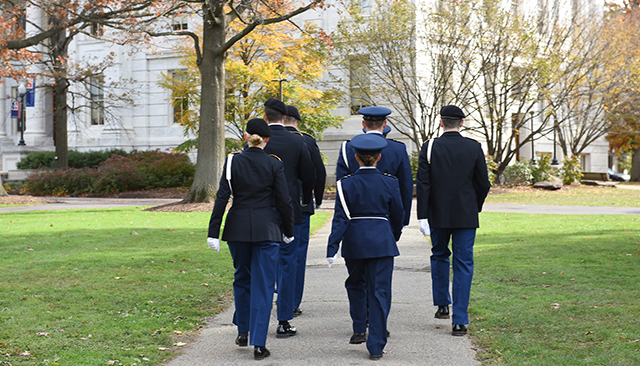 Military Students Walking on Quad