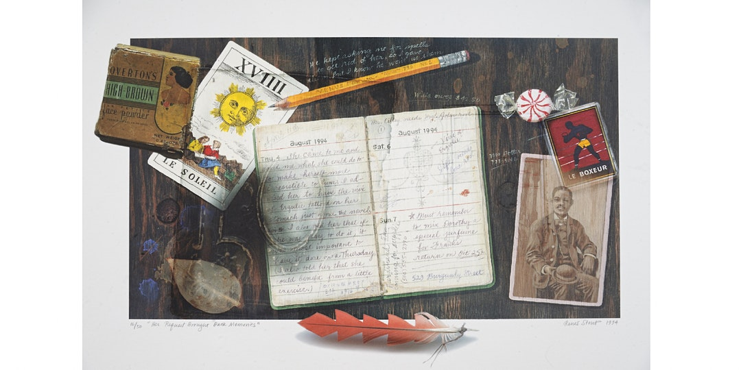 Print featuring a melange of objects including a notebook, a piece of candy, a boxing trading card