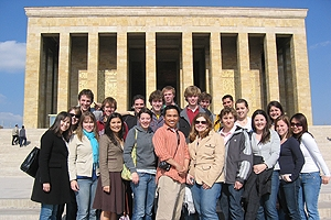Students in front of Ataturk's tomb in Ankara