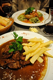 Traditional Belgian meals with french fries