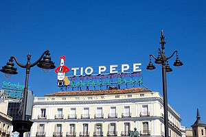 The landmark Tio Pepe, a brand of sherry, sign in Plaza del Sol in Madrid