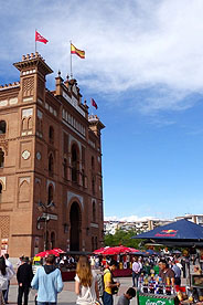 The exterior of the famous Plaza de Toros bullring in Madrid.