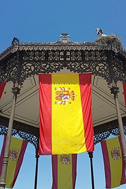 Spanish flag from hanging from gazebo.