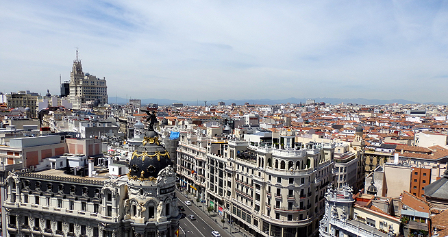 The rooftops of Gran Via, a famous boulevard in Madrid.