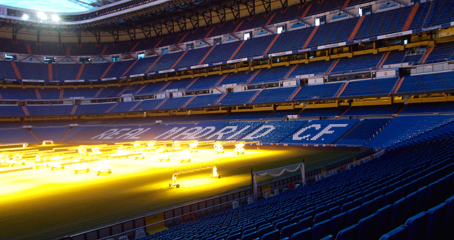 The stands in the Real Madrid football stadium
