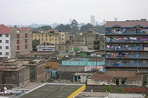 Overlook of buildings with patios and hanging laundry