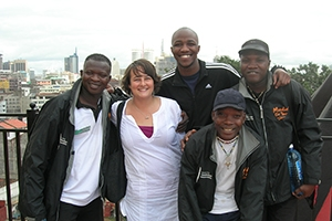 Student with local Kenyan friends.