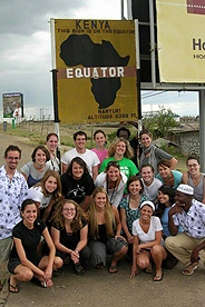 Most likely AU Nairobi will take you over the equator, which intersects this expansive country of Kenya!