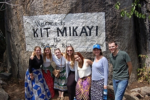 Students at the Kit Mikayi rock formation in Kisumu.