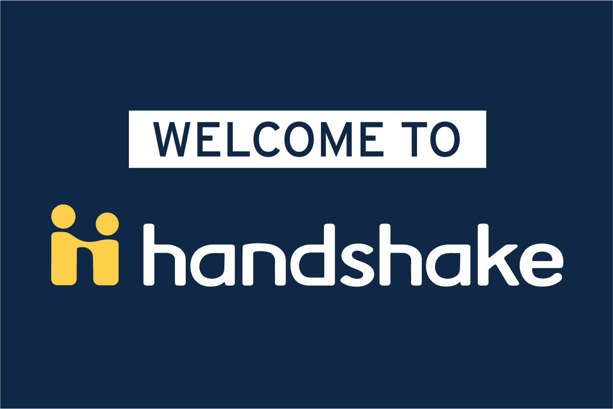 Welcome to Handshake, with Handshake logo