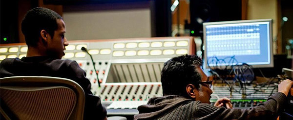 Students in audio tech studio