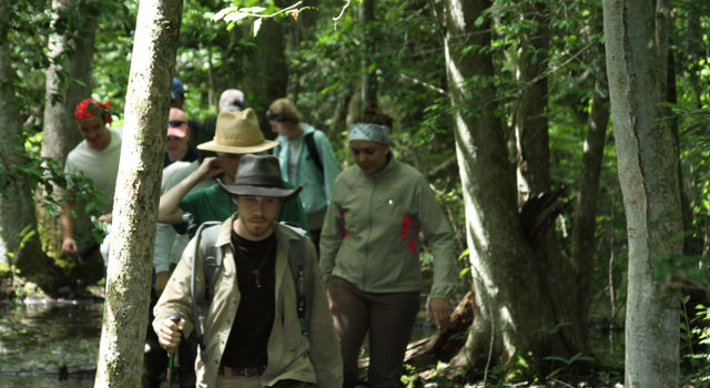 Anthropology students trek through the Dismal Swamp