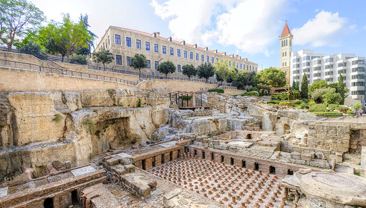 Archaeological ruins of the ancient roman baths discovered in downtown Beirut, Lebanon.