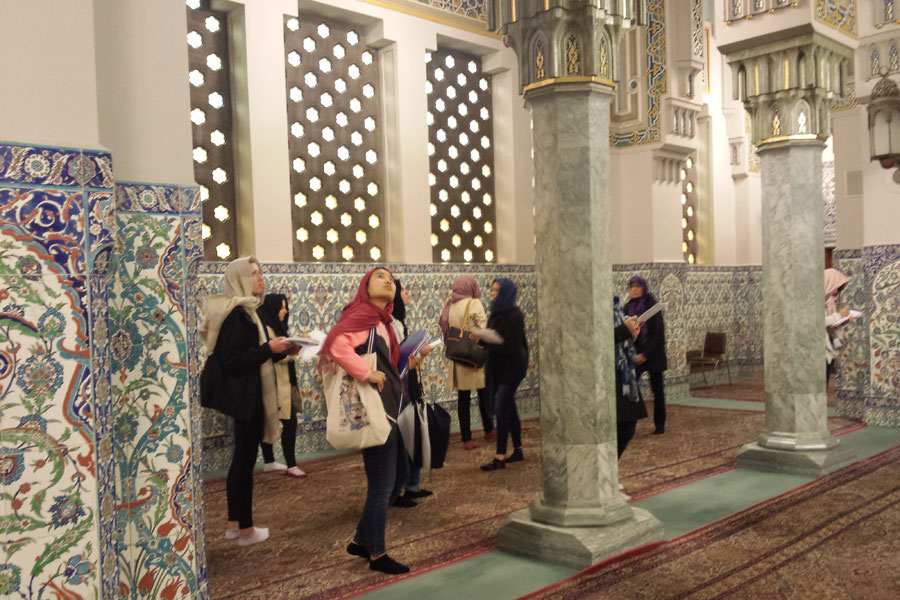 Students look around a mosque. See ARTH-396, Washington, DC Architecture.