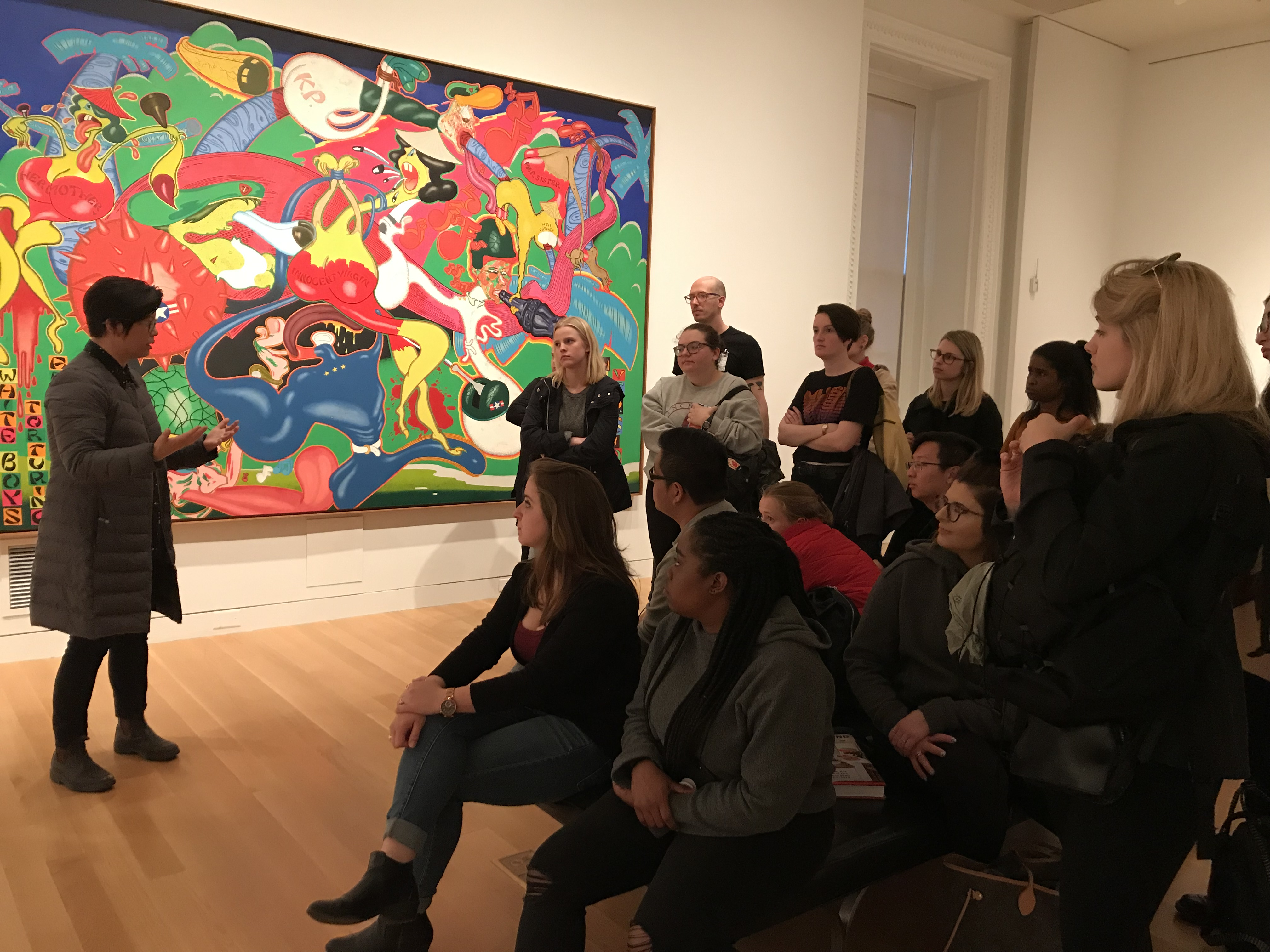 Students listening to a talk at the Smithsonian American Art Museum