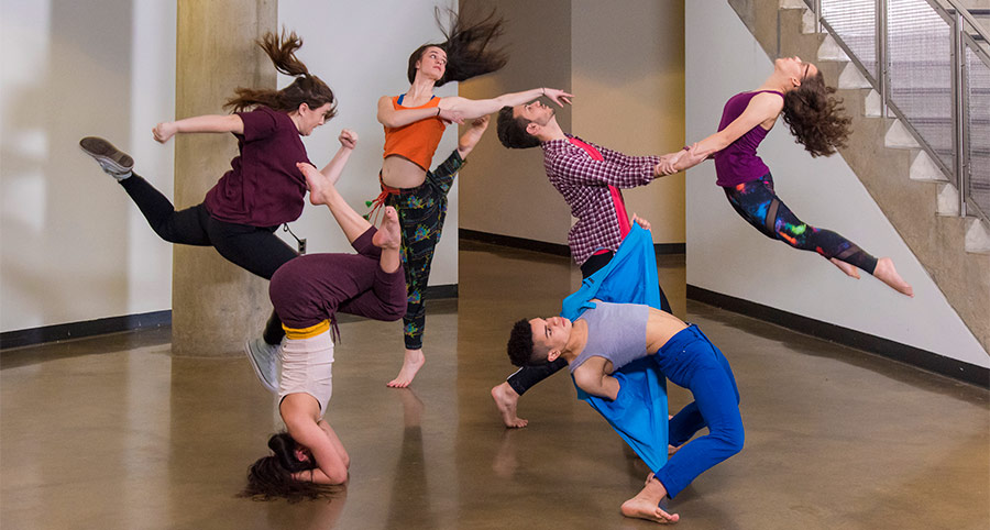 Dance students performing in Katzen Arts Center