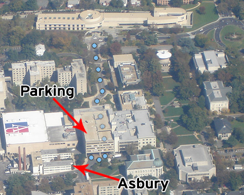 AU main driveway from Glover Gate at Massachusetts Ave to Bender parking deck and Asbury Building.