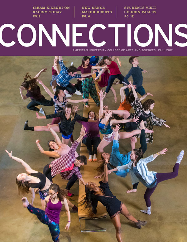 Dance students on Connections fall 2017 cover.