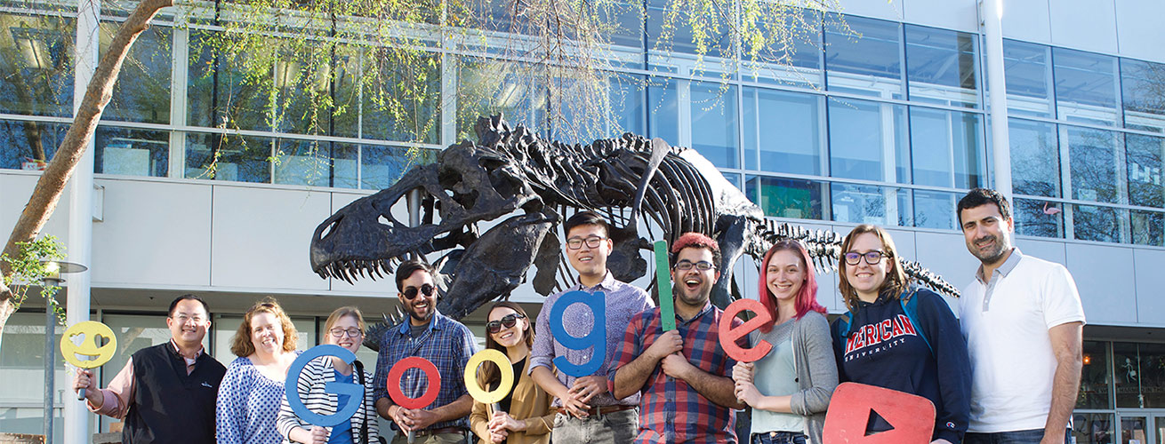 Alumnus John Morada with AU students at Google in California.