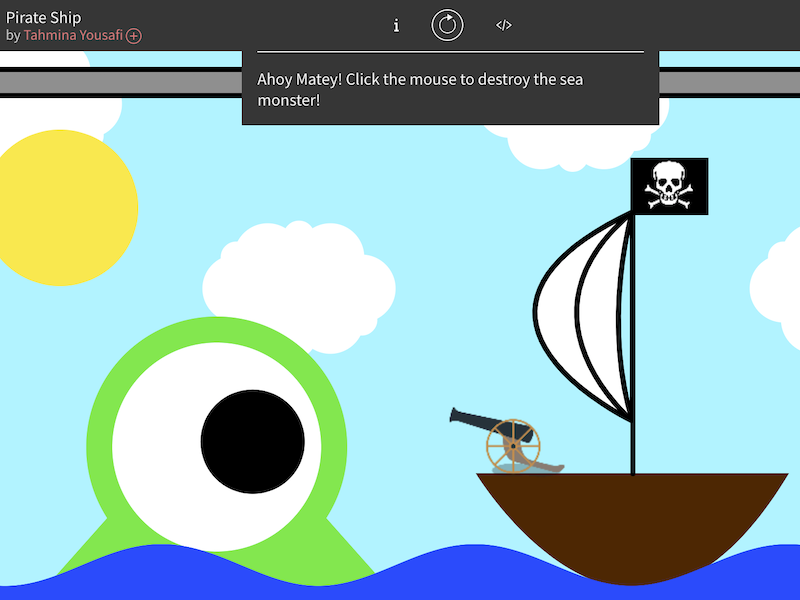 A game with a sea monster and pirate ship