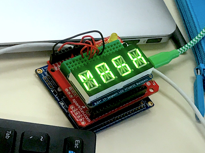 "Arduino computer with 7sigs that spell ""MASH"""