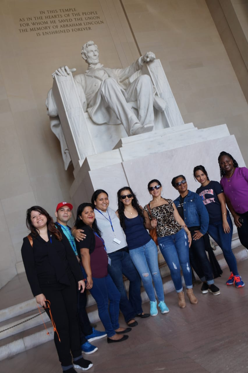 Participants in front of the Lincoln Memorial