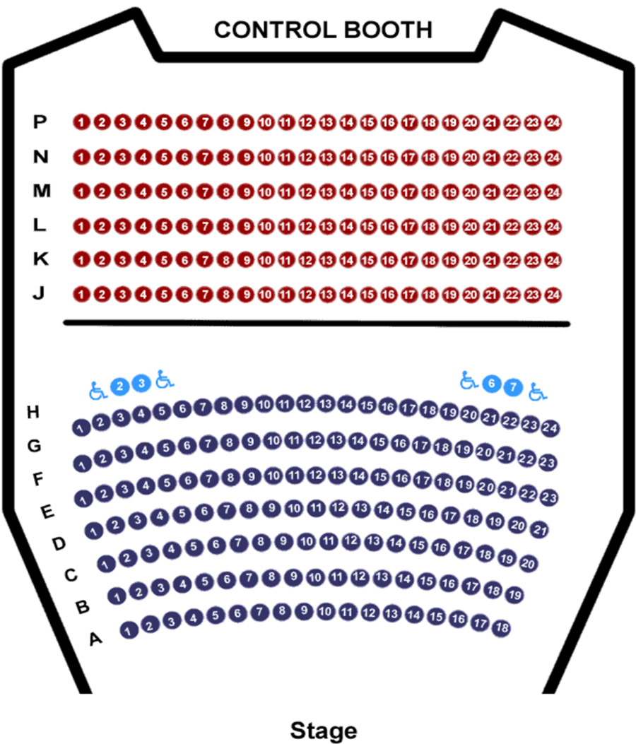 Greenberg Theatre seating chart with front rows A-G, row H with accessible seating, back rows J-P, and control both at rear.