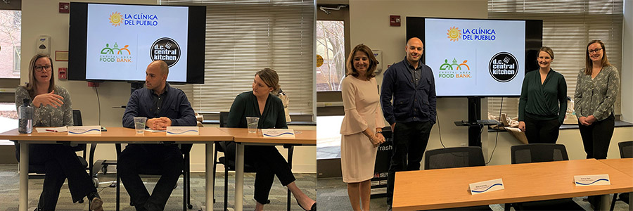 Two photos of panelists Rodrigo Stein, Jessica Rogers, and Molly McGlinchy