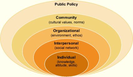 Social Ecological Model: 1) Public policy 2) Community t3) Organizational 4) Interpersonal 5) Individual