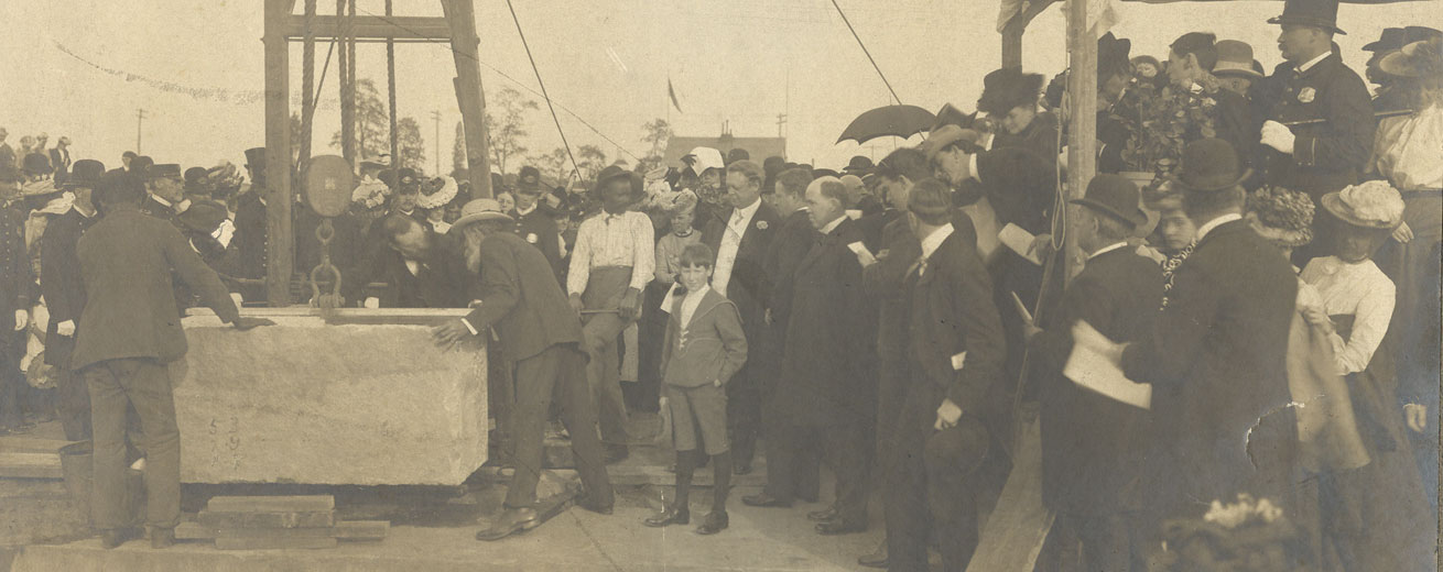 Teddy Roosevelt at the cornerstone-laying of AU's McKinley Building. AU Archives