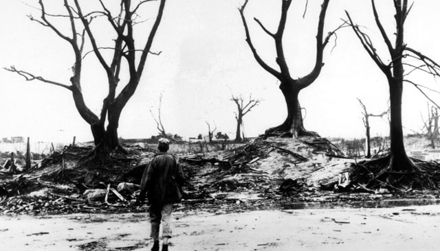 A boy walks toward bare trees outside Hiroshima.