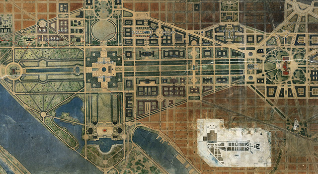 1928 map of the Mall in DC