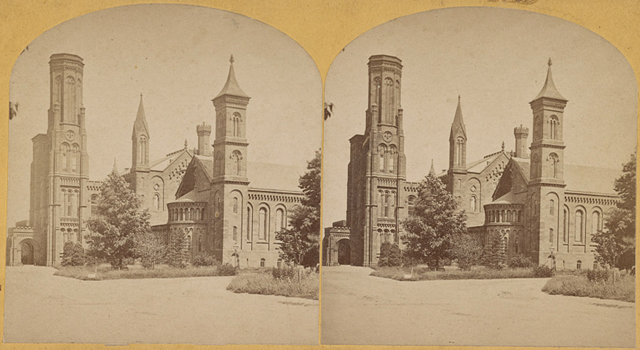 Stereoscopic view of the Smithsonian Castle, 1860-1930, Library of Congress