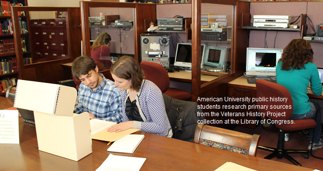 Students research primary sources from the Veterans History Project at the Library of Congress