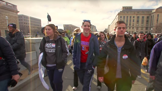 Anthropology students marching in DC