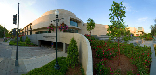 Katzen Arts Center parking entrance panorama