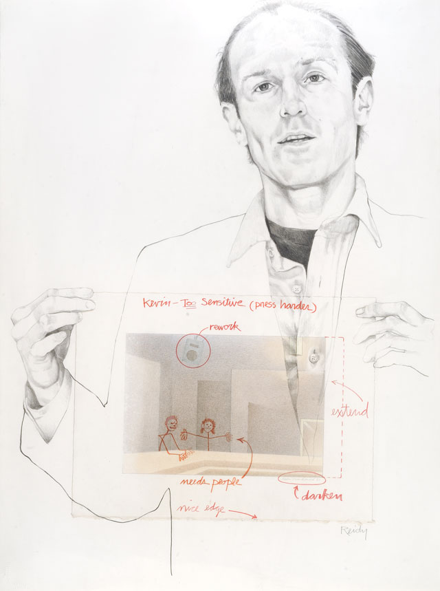 Portrait of Kevin MacDonald incorporating his drawing, Reflections, The Embassy by Michael Reidy