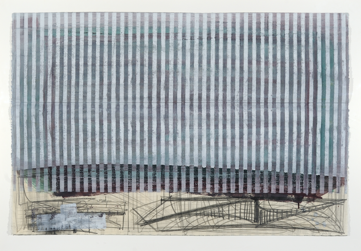 "Moshe Kupferman, Untitled, 1991. Mixed media on paper, 31 1/2"" x 48."" The Rothfeld Collection for Israli Art, American University Museum at the Katzen Arts Center."