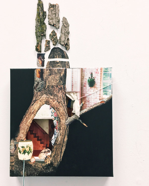 Bits of real tree bark trail into the white space around an off-center photo of a tree knot. Inside the tree knot and between the branch that trails off it are photos of a wooden staircase and a home's brick exterior. A real lamp shines in the bottom left