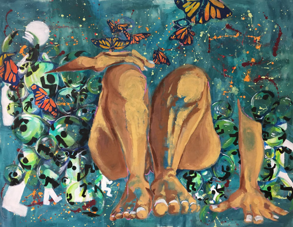 Bare legs, forearms, and hands appear surrounded by small globes with stylized human figures on them. The rest of the body is obscured by a blue area and monarch butterflies.