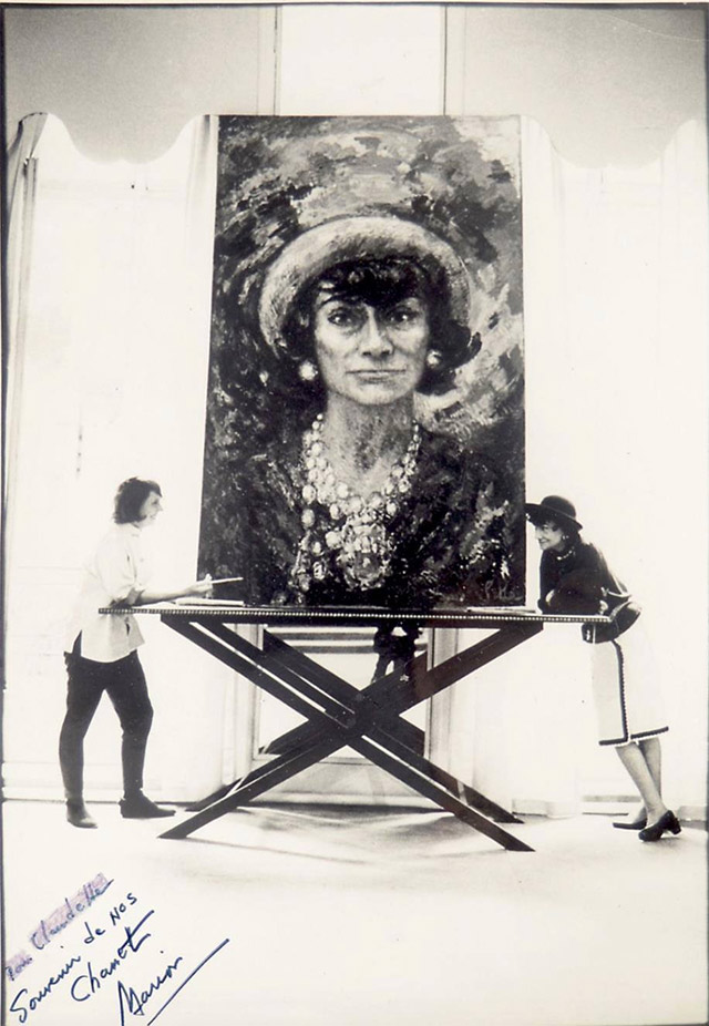Artist Marion Pike with Coco Chanel and a painting by Pike of Chanel.