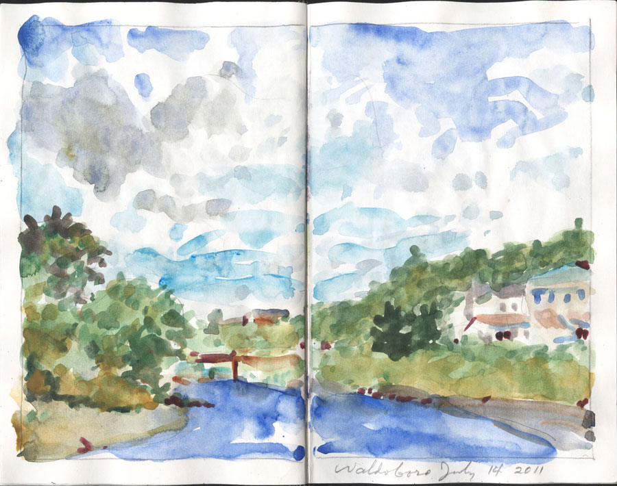 Watercolor of a bridge over a river between two green hills, under a big sky.
