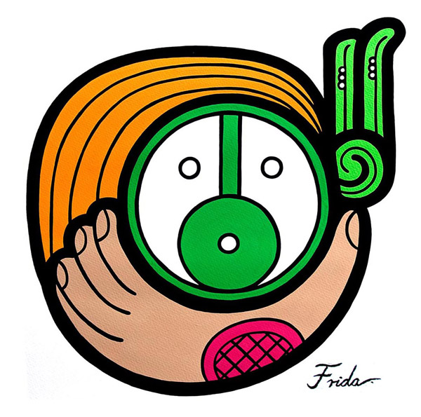 On a white field, a stylized hand holds a circular mask-like face. The face wears green feathers and has curved orange lines following the shape of the top and left of its head.