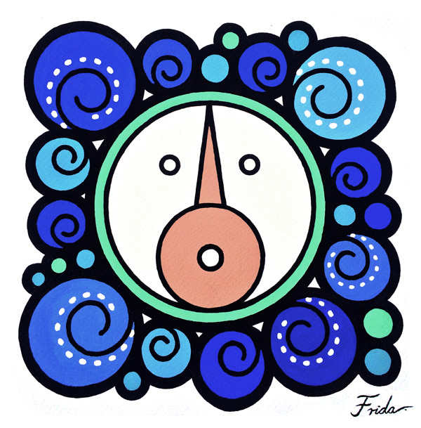 A stylized circular face framed by swirls of blue. The mouth and eyes of the face are simple circles, and its nose is a brown triangle. The complete symbol sits on an unpainted background.