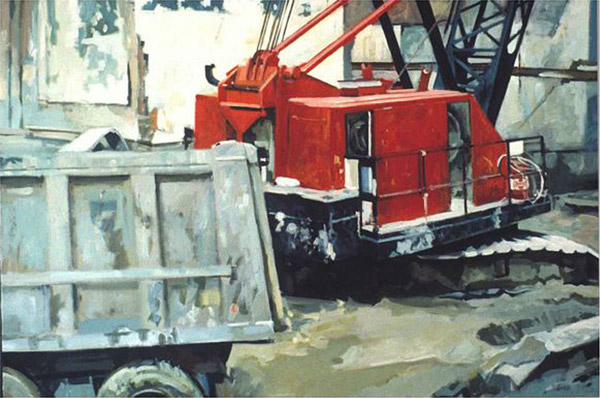 A large red crane on a grey industrial background. In the front left is the back of a dump truck.